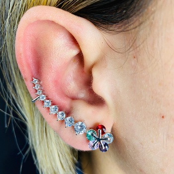 Brinco Ear Cuff Zircônia Flor Prata Colorido