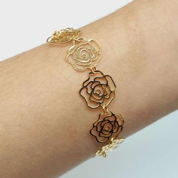 Pulseira Folheada a Ouro 18K Rosas