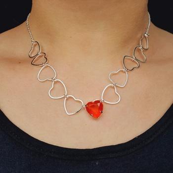 Colar Folheado a Prata 925 Coração Vermelho