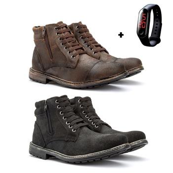 Kit com 2 Coturnos em couro + Relógio - Fratelli Outlet   Especialista em Sapatos Sociais de couro