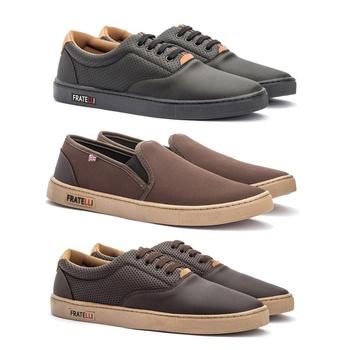 KIT 3 PARES VULCAN PRETO/VULCAN CAFÉ/IATE CAFÉ - Fratelli Outlet   Especialista em Sapatos Sociais de couro