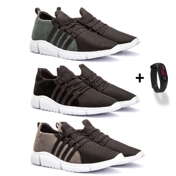 Kit 3 pares flórida(vede/pto/cinza)+relógio - Fratelli Outlet | Especialista em Sapatos Sociais de couro