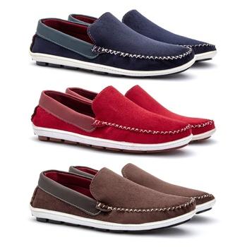 KIT 3 PARES SAPATILHA MASCULINA DANYUM-AZUL/VERMEL... - Fratelli Outlet   Especialista em Sapatos Sociais de couro