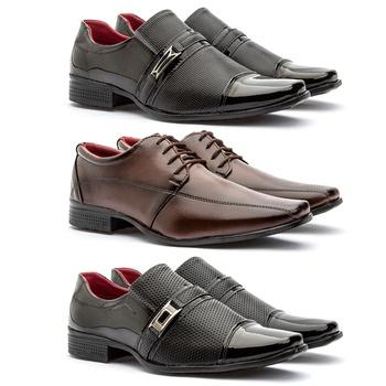Kit 3 Pares 814VP/804CAP/815VP - Fratelli Outlet | Especialista em Sapatos Sociais de couro