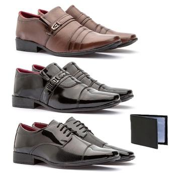 Kit 3 Pares - 839VP/833FC/801VP + CARTEIRA - Fratelli Outlet | Especialista em Sapatos Sociais de couro