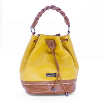 Bolsa Média em Couro Amarelo com Caramelo - 5242/... - Balatore Shoes