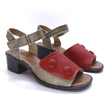 Sandália Ibiza Vermelha e Areia - IB121/VERMELHA - Balatore Shoes