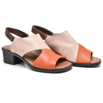 Sandália Ibiza Laranja / Nude e Tabaco - IB094/054 - Balatore Shoes