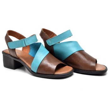 Sandália Ibiza Tabaco e Turquesa - IB116/023 - Balatore Shoes