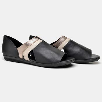 Flat Búzios Preta/Off White/Prata Velho - BZ034/00... - Balatore Shoes