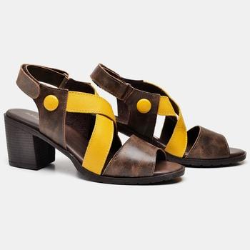 Sandália London Amarela e Café - LD086/002 - Balatore Shoes