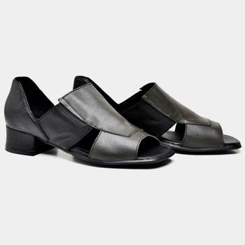 Sandália Mônaco Preta e Verde Militar - MN001/003 - Balatore Shoes