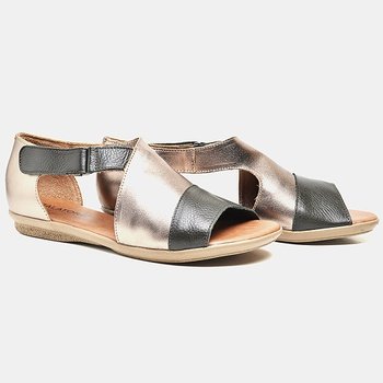 Flat Rasteira Búzios Prata Velho e Oliva - BZ029/0... - Balatore Shoes