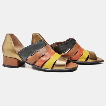 Sandália Mônaco Bronze/Verde Militar/Laranja/Amare... - Balatore Shoes