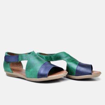 Flat Rasteira Búzios Azul Marinho e Verde - BZ029/... - Balatore Shoes