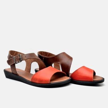 Flat Rasteira Caribe Tabaco e Laranja - CA002/018 - Balatore Shoes