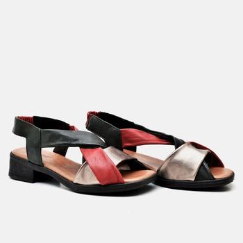 Sandália Florença Oliva/Carmin/Prata Velho - FL008... - Balatore Shoes