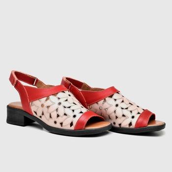 Sandália Florença Carmim e Nude - FL015/004 - Balatore Shoes