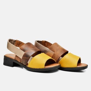 Sandália Florença Amarelo/Tabaco/Areia - FL009/012... - Balatore Shoes