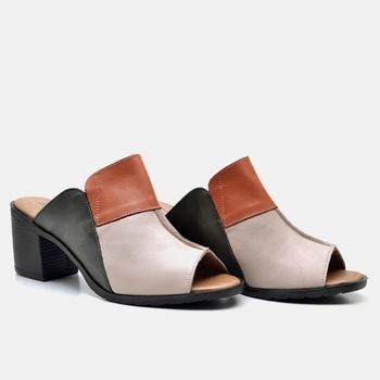 Tamanco London Nude/Laranja/Verde Militar - LD052/... - Balatore Shoes