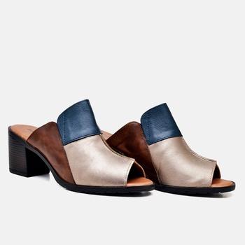 Tamanco London Prata/Azul Marinho/Tabaco - LD052/0... - Balatore Shoes