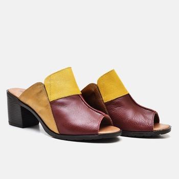 Tamanco London Vermelho/Amarelo/Bronze - LD052/008 - Balatore Shoes