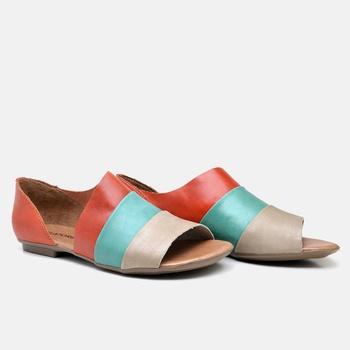 Flat Rasteira Maresias Carmim/Esmeralda/Off White ... - Balatore Shoes