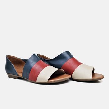 Flat Rasteira Maresias Off White/Carmin/Azul Marin... - Balatore Shoes