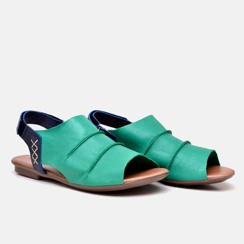 Flat Rasteira Maresias Esmeralda e Azul Marinho - ... - Balatore Shoes