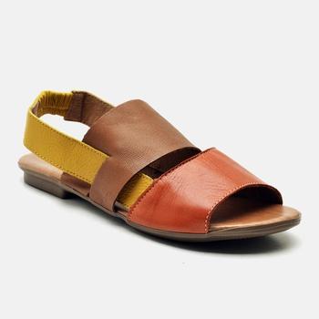 Flat Rasteira Maresias Laranja/Whisky/Amarelo - MA... - Balatore Shoes