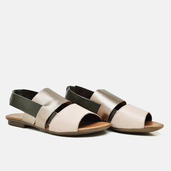 Flat Rasteira Maresias Nude/Prata Velho/Oliva - MA... - Balatore Shoes