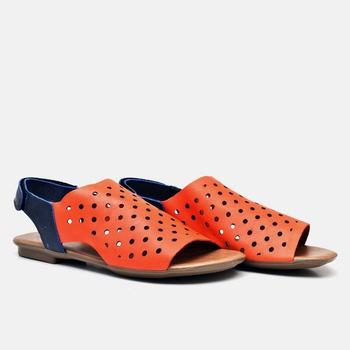 Flat Rasteira Maresias Laranja Tropical e Azul Mar... - Balatore Shoes