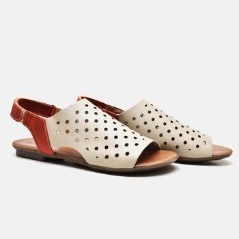 Flat Rasteira Maresias Off White e Laranja - MA068... - Balatore Shoes
