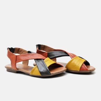 Flat Rasteira Maresias Verde Militar/Laranja/Amare... - Balatore Shoes