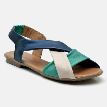 Flat Rasteira Maresias Esmeralda/Off White/Azul MA... - Balatore Shoes