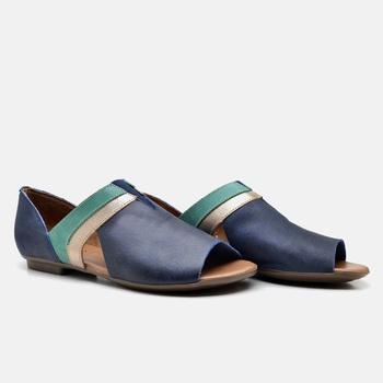 Flat Rasteira Maresias Azul Marinho/Prata/Esmerald... - Balatore Shoes