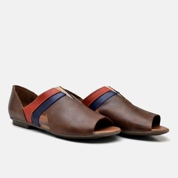Flat Rasteira Maresias Tabaco/Azul Marinho/Carmin ... - Balatore Shoes