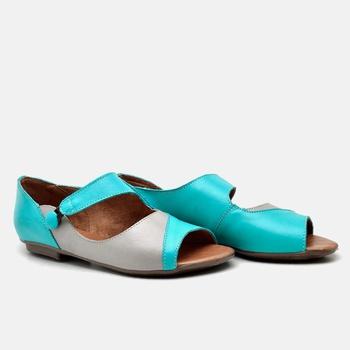 Flat Rasteira Maresias Azul Turquesa e Cinza - MA0... - Balatore Shoes