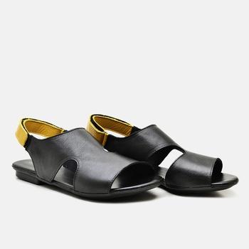 Flat Rasteira Maresias Preta e Amarela - MA098/002 - Balatore Shoes