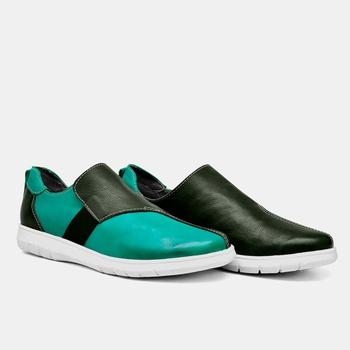 Tênis Nômade Azul Turquesa e Verde Militar - NM004... - Balatore Shoes