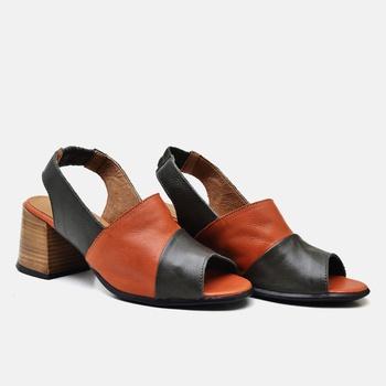 Sandália Paris Verde Oliva e Laranja - PI007/002 - Balatore Shoes
