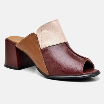 Tamanco Paris Nude/Bordô/Whisky - PR006/005 - Balatore Shoes