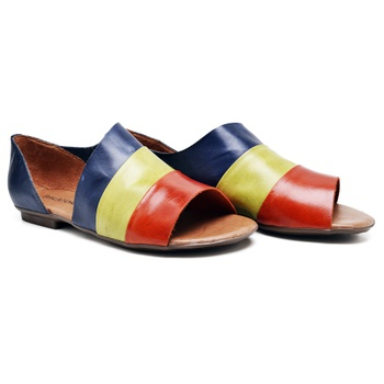 Flat Rasteira Maresias Laranja/Lima/Marinho - MA0... - Balatore Shoes