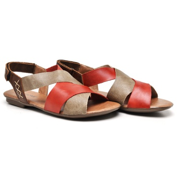 Flat Rasteira Maresias Carmim/Areia/Tabaco - MA078... - Balatore Shoes