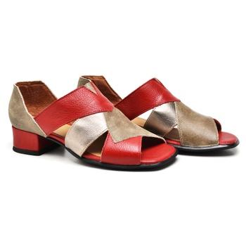 Sandália Mônaco Carmim/Areia/Prata Velho - MN002/0... - Balatore Shoes