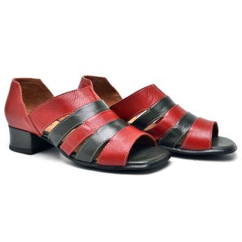 Sandália Off Carmim e Oliva - MN006/012 - Balatore Shoes