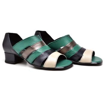 Sandália Off White /Marinho / Verde - MN006/013 - Balatore Shoes