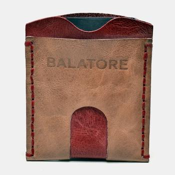 Porta Cartão Amêndoa e Vermelho - PC002/006 - Balatore Shoes