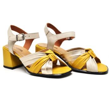 Sandália Turim Ouro Light/Amarelo/Off White - TR00... - Balatore Shoes