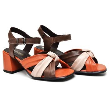 Sandália Turim Tabaco/Nude/Laranja - TR001/002 - Balatore Shoes